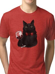 Wine Cat Tri-blend T-Shirt