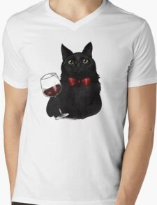 Wine Cat Mens V-Neck T-Shirt
