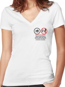 For Your Safety - No Dancing Warning (Stacked) Women's Fitted V-Neck T-Shirt