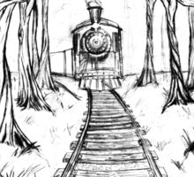 Wooden Railway , Pencil illustration railroad train tracks in woods, Black & White drawing Landscape Nature Surreal Scene Sticker