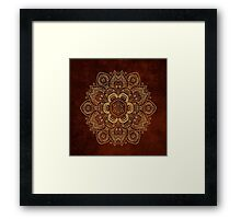 Gold Flower on Royal Red Textured Background, #redbubble, #design, #pattern Framed Print