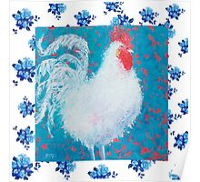 White rooster on a floral background Poster