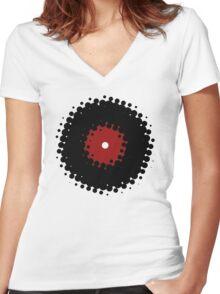 Vinyl Records Retro Vintage 50's Style Women's Fitted V-Neck T-Shirt