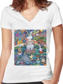 Ocean tea-party Women's Fitted V-Neck T-Shirt