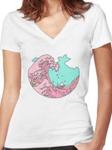Japanese pastel kawaii Kanagawa anime meme surf beach wave Women's Fitted V-Neck T-Shirt