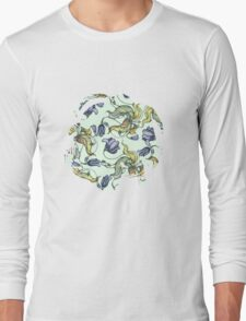 vintage floral pattern watercolor drawing Long Sleeve T-Shirt