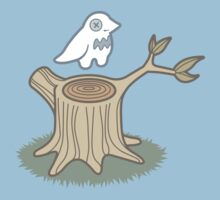 ghost bird and tree trunk One Piece - Short Sleeve