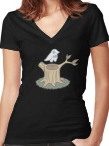 ghost bird and tree trunk Women's Fitted V-Neck T-Shirt