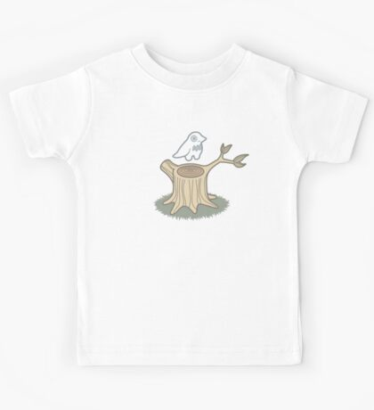 ghost bird and tree trunk Kids Tee