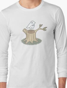 ghost bird and tree trunk Long Sleeve T-Shirt