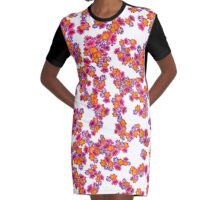 Flowers Random Fill Pattern Graphic T-Shirt Dress