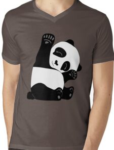 Waving Panda Mens V-Neck T-Shirt