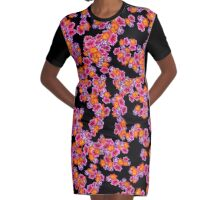 Flowers Random Fill Pattern Black Graphic T-Shirt Dress