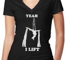 Aerial Silks - Yeah, I lift - White design Women's Fitted V-Neck T-Shirt