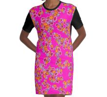 Flowers Random Fill Pattern HotPink Graphic T-Shirt Dress