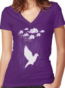 Crying Doves Women's Fitted V-Neck T-Shirt