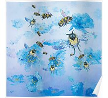 Flying bees in field of poppies Poster