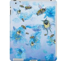 Flying bees in field of poppies iPad Case/Skin