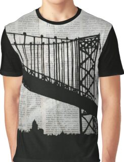 Paper City , Newspaper Bridge Collage,  cutout black white print illustration  Graphic T-Shirt