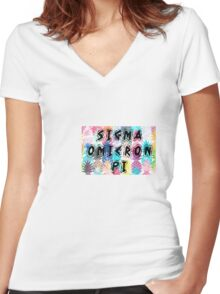 Sigma Omicron Pi Women's Fitted V-Neck T-Shirt