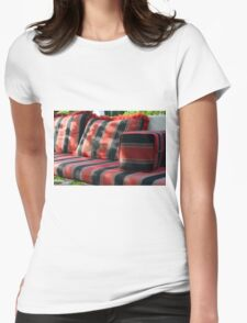 Bird in flight in front of mattress in the park. Womens Fitted T-Shirt