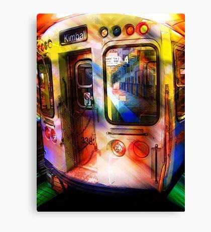 kimball train, brown line, chicago Canvas Print