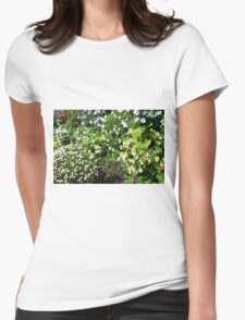 Colorful, many small flowers in the garden. Womens Fitted T-Shirt