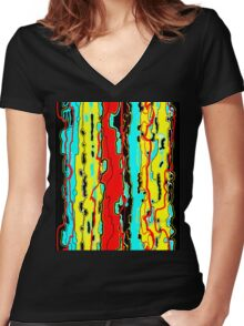 Bush Ants Abstract Digital Var 18 Further Abstracted Women's Fitted V-Neck T-Shirt