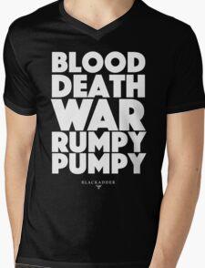 Blackadder quote - Blood, Death, War, Rumpy Pumpy. Mens V-Neck T-Shirt