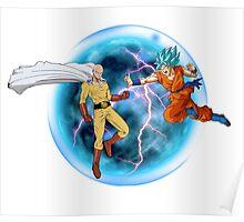 Saitama Vs. Goku Combat Poster