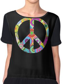 Cool Retro Flowers Peace Sign - T-Shirt and Stickers Chiffon Top