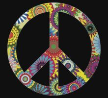 Peace Sign Cool Retro Flowers Design by Denis Marsili