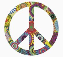 Cool Retro Flowers Peace Sign - T-Shirt and Stickers Kids Tee