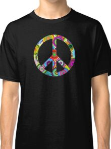 Cool Retro Flowers Peace Sign - T-Shirt and Stickers Classic T-Shirt