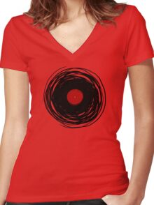 Spinning within with a vinyl record... Women's Fitted V-Neck T-Shirt