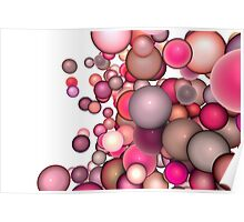 3d render strings of floating balls in multiple glossy pink red  Poster