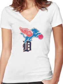 Detroit Sports Love Women's Fitted V-Neck T-Shirt