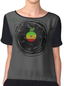 Reggae Music Peace - Vinyl Records Weed Cannabis - Cool Retro Music DJ inspired design Chiffon Top