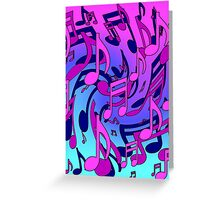Music Notes Blue Purple Aqua Pink Pattern2 Greeting Card