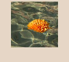 Floating Sunshine - a Vivid Orange Chrysanthemum in Silken Fountain Reflections Unisex T-Shirt