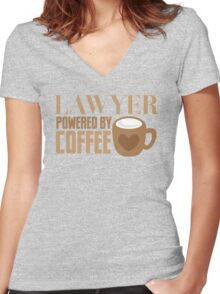 LAWYER powered by coffee Women's Fitted V-Neck T-Shirt
