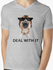 Deal with it pup Mens V-Neck T-Shirt