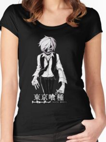kaneki black and white tokyo ghoul Women's Fitted Scoop T-Shirt