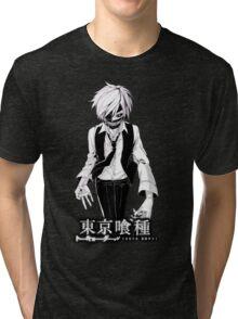kaneki black and white tokyo ghoul Tri-blend T-Shirt
