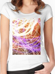 Psychedelic Neon Light Party Women's Fitted Scoop T-Shirt