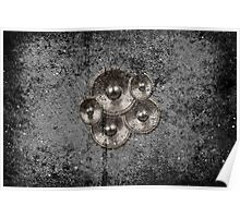 Music speakers on a concrete wall Poster
