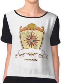 Compass Navigator Map Coat of Arms Crest Retro Chiffon Top
