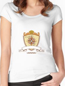 Compass Navigator Map Coat of Arms Crest Retro Women's Fitted Scoop T-Shirt
