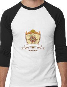 Compass Navigator Map Coat of Arms Crest Retro Men's Baseball ¾ T-Shirt