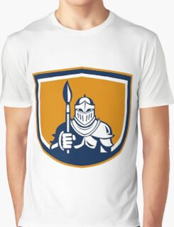 Knight Full Armor Holding Paint Brush Crest Retro Graphic T-Shirt
